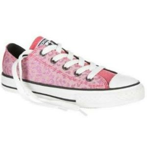 💕EUC Converse metallic pink leopard sneakers